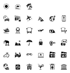 33 black travel icons 01 vector