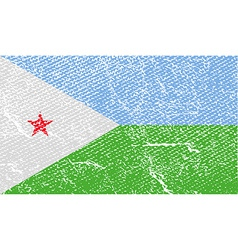Flag of djibouti with old texture vector