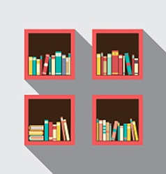 Flat design bookshelves set on wall vector