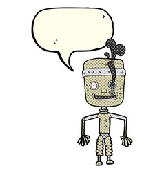 Cartoon malfunctioning robot with speech bubble vector
