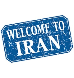 Welcome to iran blue square grunge stamp vector