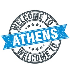 welcome to Athens blue round vintage stamp vector image
