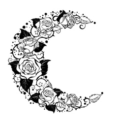 Crescent of contour roses vector