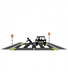 Zebra crossing reckless driver vector