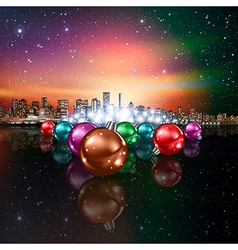 Abstract christmas with decorations and panorama vector