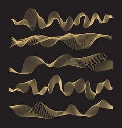 abstract waves set on black background vector image vector image