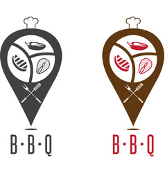 Bbq geo location pins design template vector