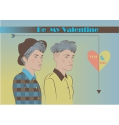 Be my Valentine Card for lesbians Vintage style vector image vector image