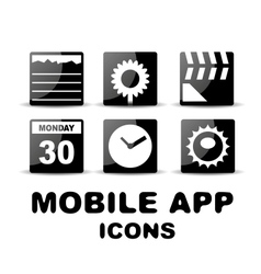 Black glossy square mobile app icons vector image vector image