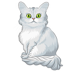 blue cat Tiffany with green eyes vector image vector image