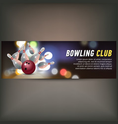 bowling horizontal banner with bowling champ club vector image vector image