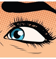 Close-up woman blue eye looking to the left vector image vector image