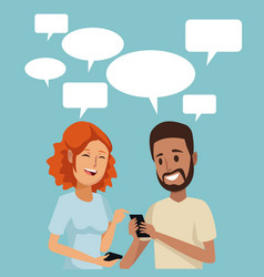 Color background with couple people social network vector