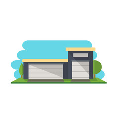 Commercial storehouse structure isolated icon vector