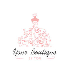 Dress boutique bridal logo template vector