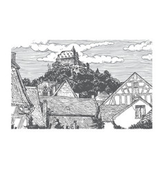 engraved of old village vector image