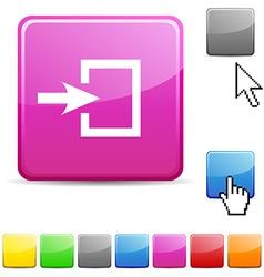 Entrance glossy button vector