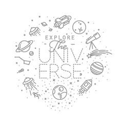 Flat explore universe monogram vector