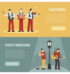Folk and street musicians horizontal banners vector