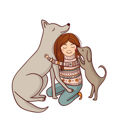 Girl with dogs vector
