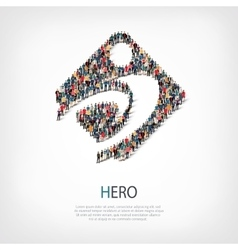 Hero people sign 3d vector
