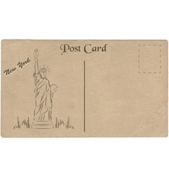 Old postcard from New York USA with a drawing of vector image