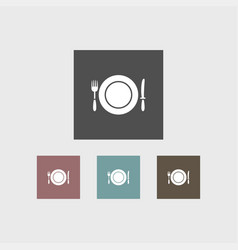 plate with fork and knife icon simple vector image