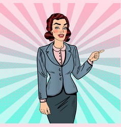 Pop art business woman pointing on copy space vector