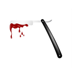 razor in black and silver design with bloody blade vector image vector image