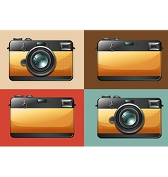Retro camera set on backgrounds vector image vector image