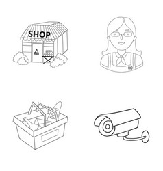 Salesman woman basket plastic supermarket set vector