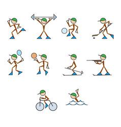 Set of stylized sportsmen vector