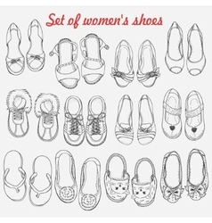 Set of women shoes on white background vector image