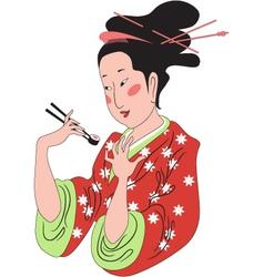 Sushi lady vector image