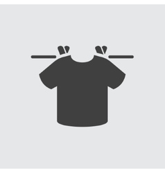 T shirt hanging on therad icon vector image