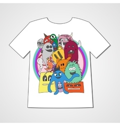 T-shirt with abstract set of monsters vector image vector image