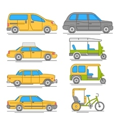 Trendy linear taxi transport icons vector image vector image