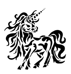 Unicorn for coloring or tattoo vector