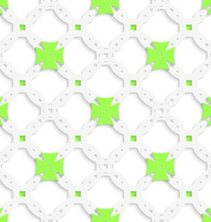 White perforated ornament with green crosses vector