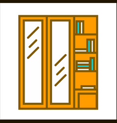 Wooden wardrobe with two vertical doors and vector