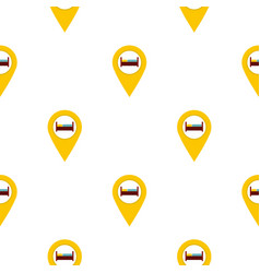 Yellow map pointer with symbol hotel pattern flat vector