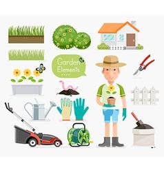 Conceptual of Gardening Gardener and Garden tools vector image