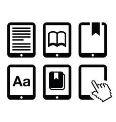 E-book reader e-reader icons set vector