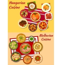Hungarian and moldavian cuisine dishes icon vector image