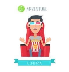 Adventure movie flat style concept vector