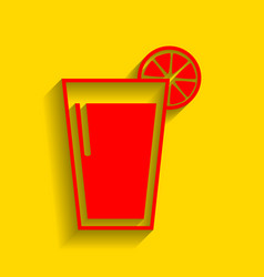 glass of juice icons  red icon with soft vector image