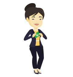 Business woman putting money bribe in pocket vector