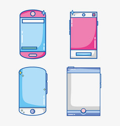 set mobile app to digital communication vector image