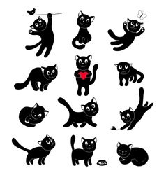Set of silhouettes happy cats vector