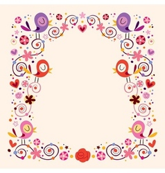 Birds and flowers border frame vector